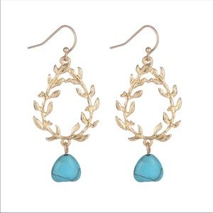 Gold Leaf Blue Stone Earrings